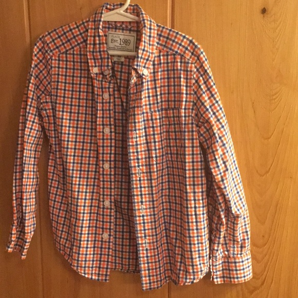The Children's Place Other - Boys long sleeve orange/ blue plaid shirt